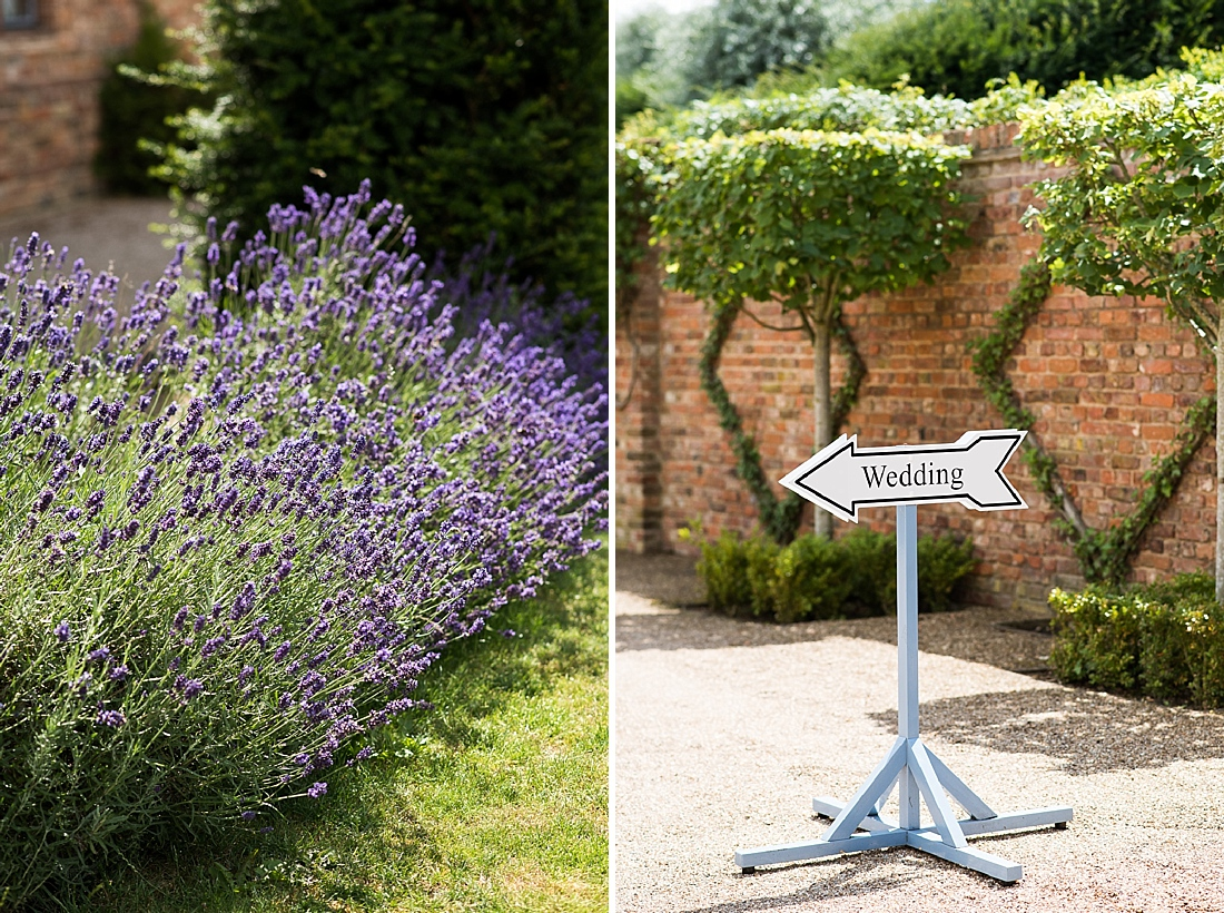 The Old Hall Ely country garden lavender with wedding sign
