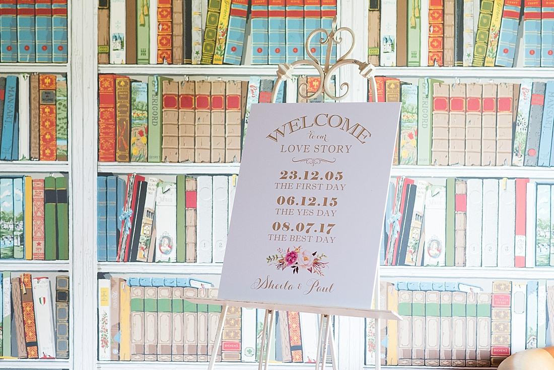 Pastel coloured wedding board sign