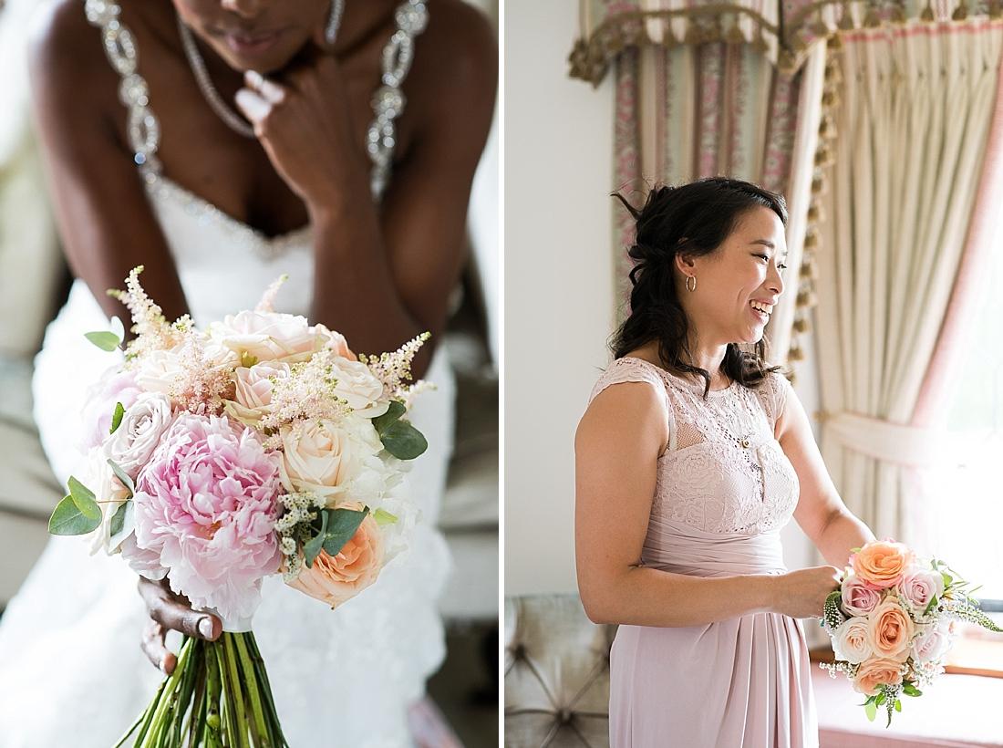 Bridal bouquet by Larkspur Floral Design with Asos pastel bridesmaid