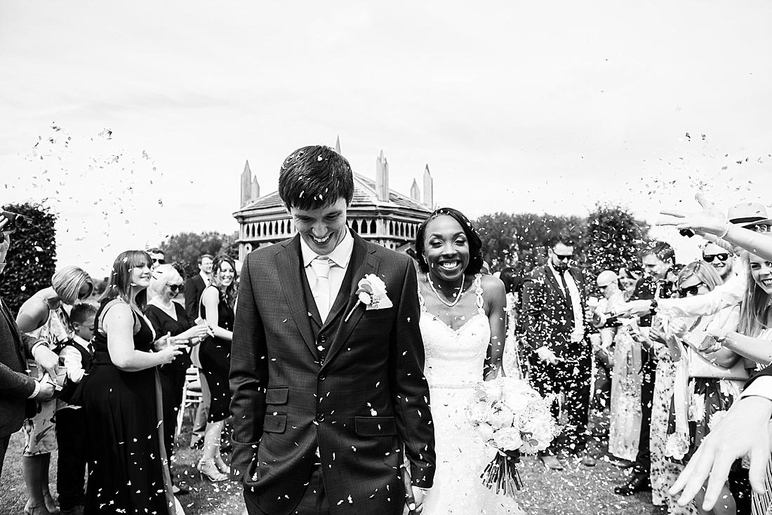 Beautiful elegant confetti wedding portrait