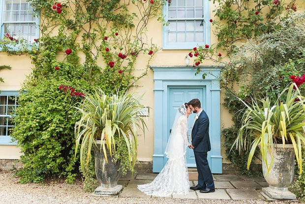 Pretty rustic outdoor wedding portrait South Farm Cambridgeshire