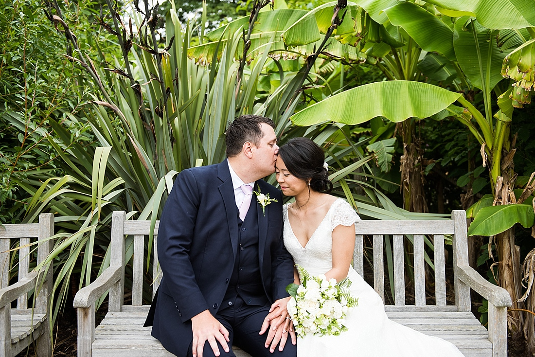Loved up wedding portrait Horniman Museum London