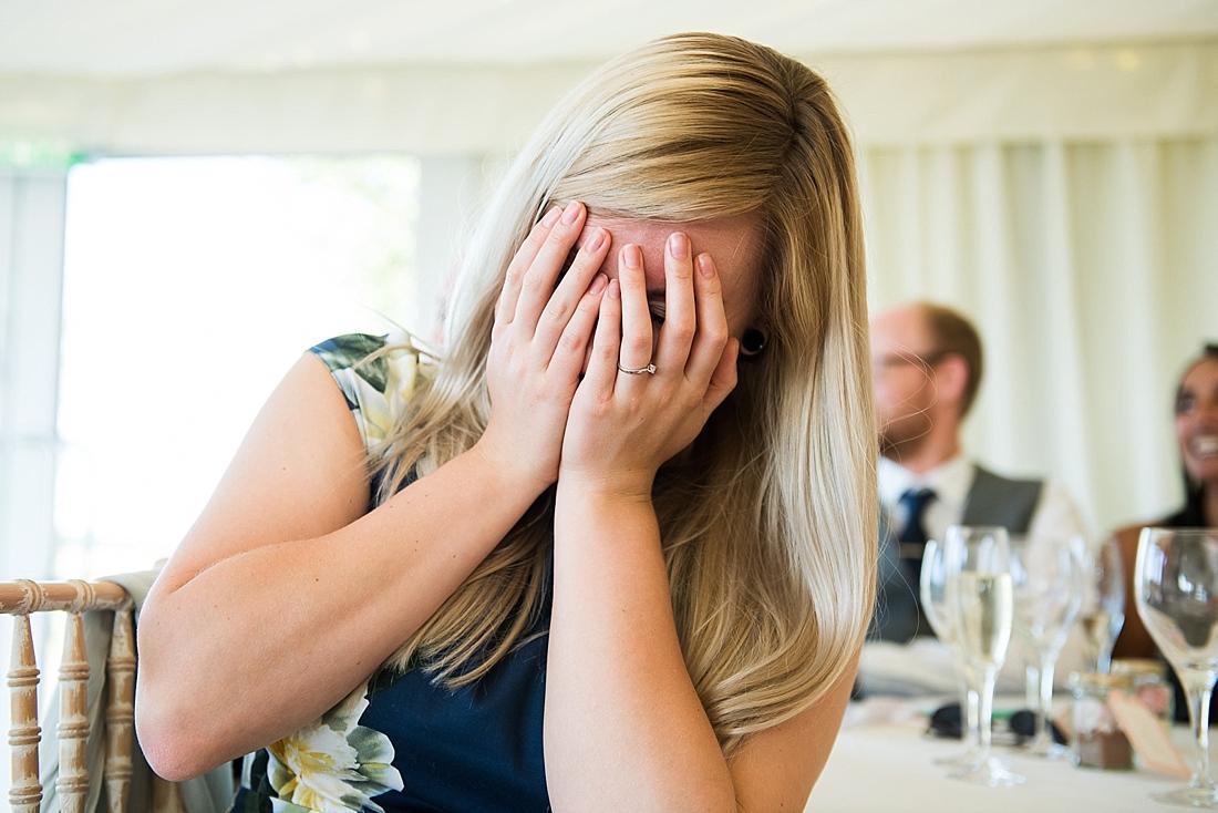 Wedding guest embarrassed during wedding speech