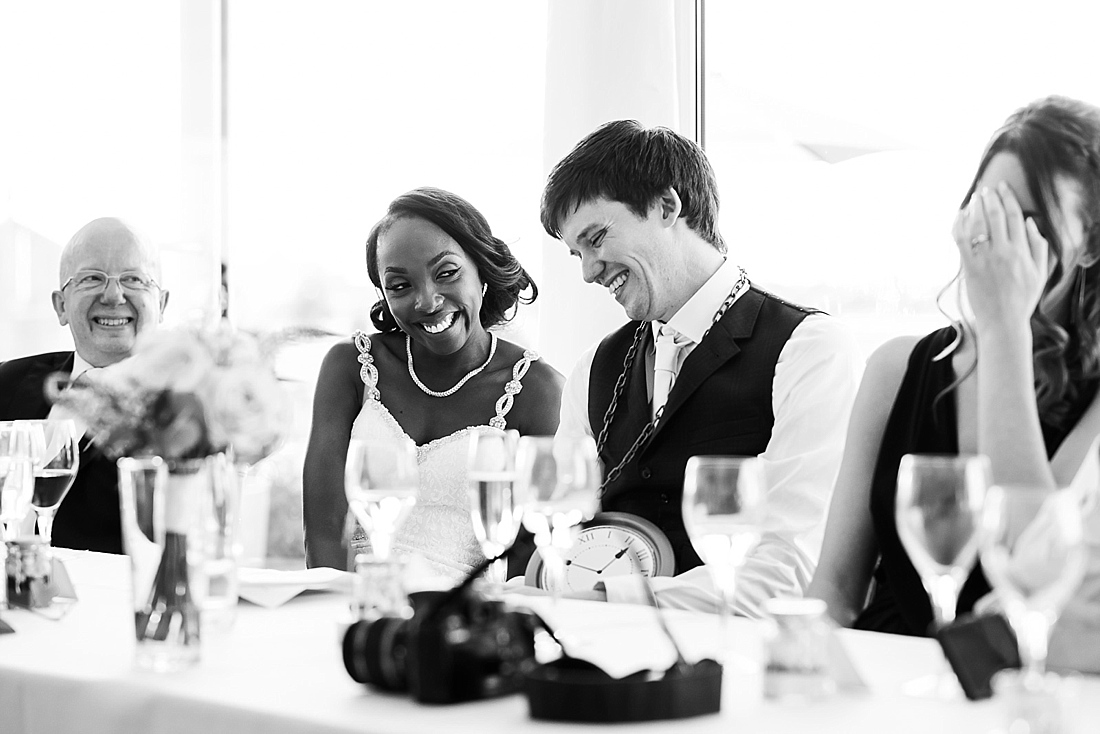 Giggling during wedding speeches