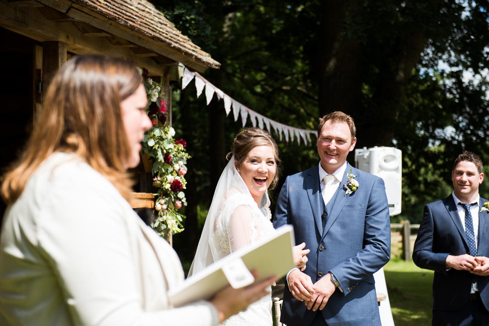 Wedding celebrant outdoor rustic summer wedding ceremony