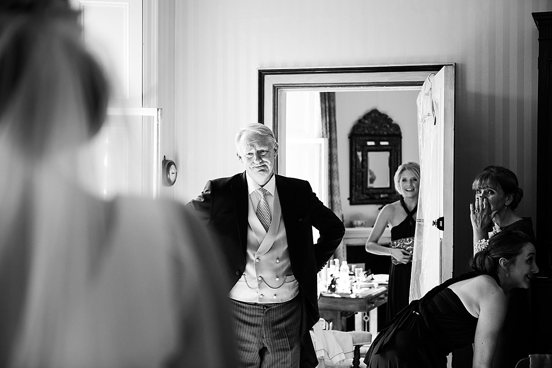 Father first look seeing bride pre wedding photography