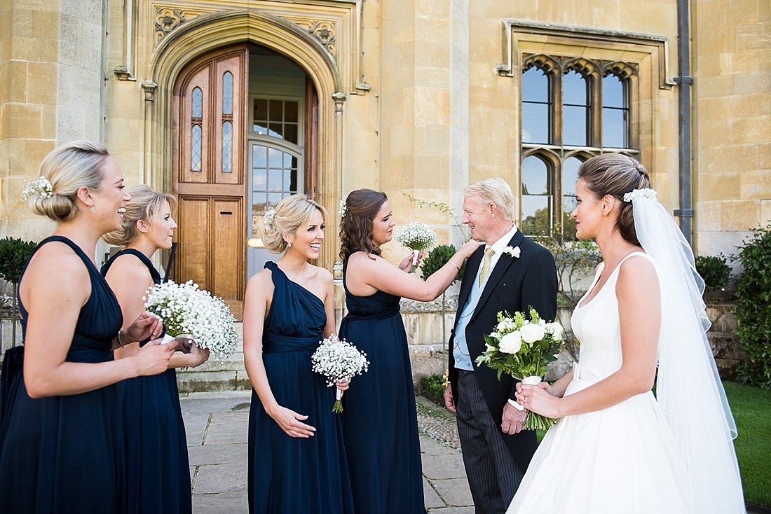 Suzanne Neville bride with bridesmaids pre wedding photography St Bene'ts Church