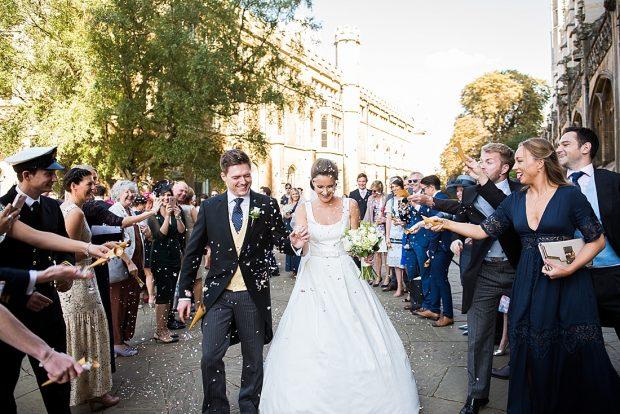 Joyful confetti wedding portrait