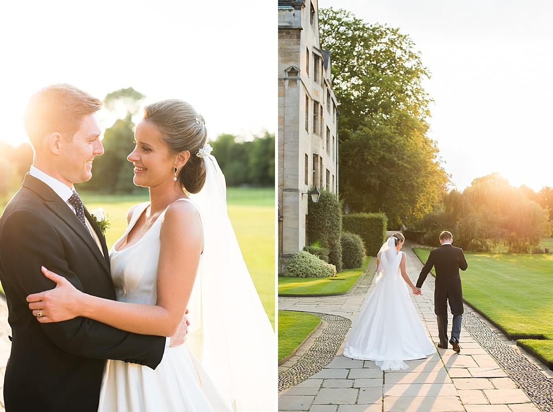 Elegant Suzanne Neville bride with groom sunshine wedding portrait