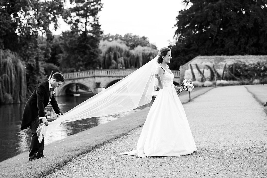 Suzanne Neville bride with cathedral length veil