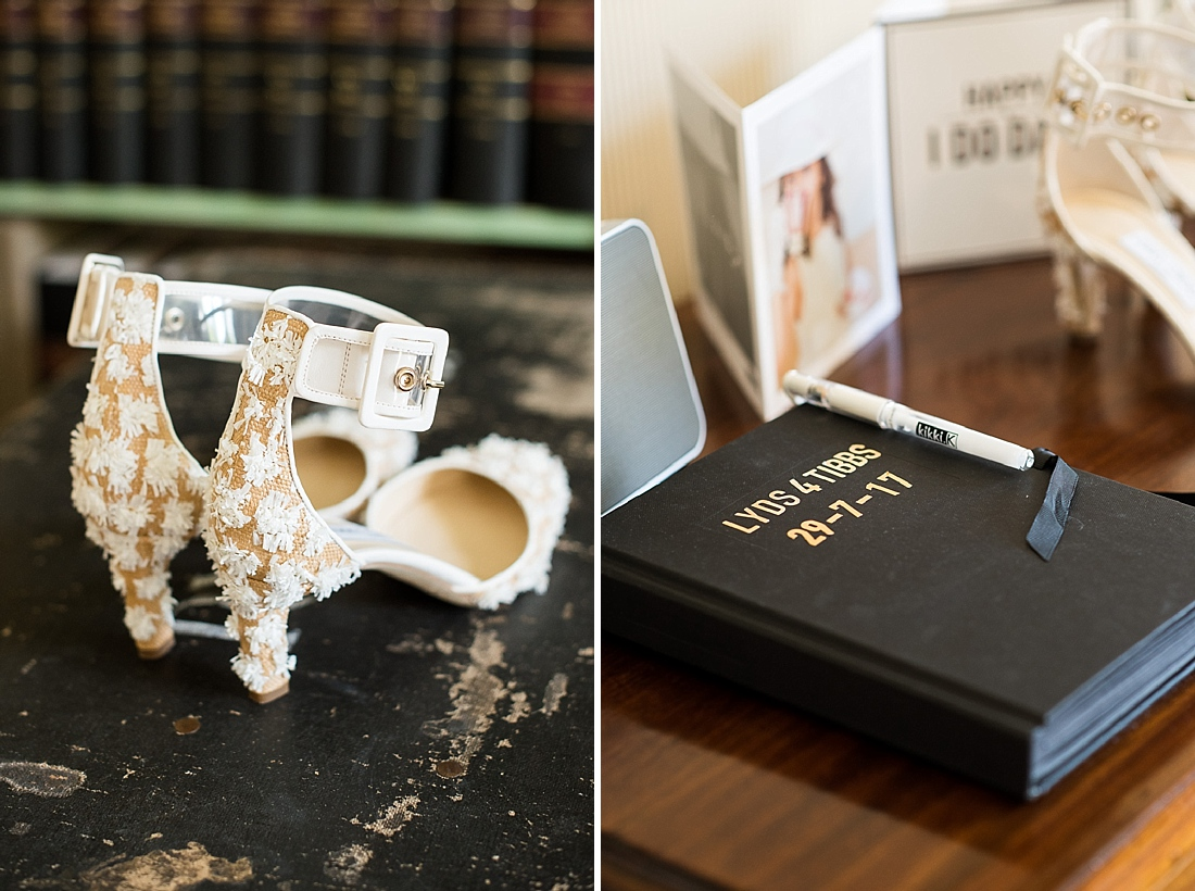 Bridal shoes with personalised memory book