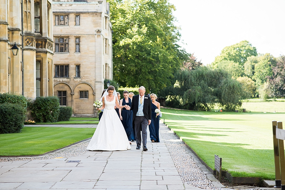 Suzanne Neville bride with Father Cambridge pre wedding photography
