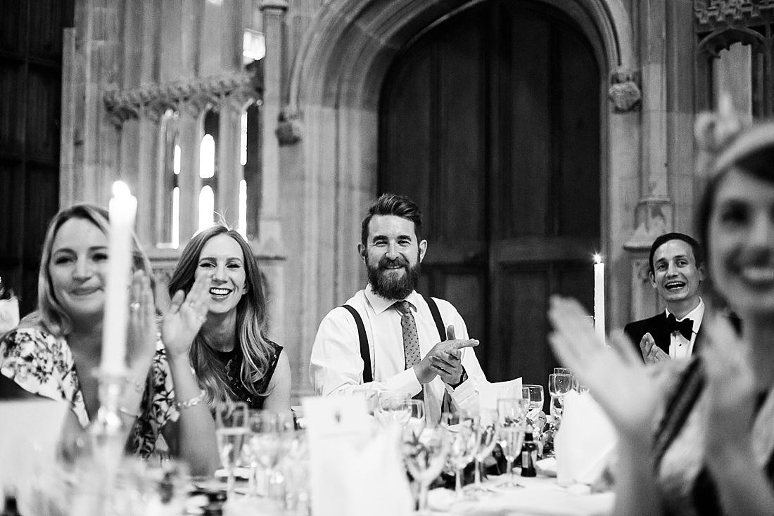 Happy wedding guests applause speech