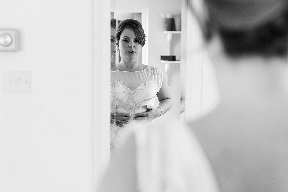 Stylish bride checking Rosa Clara dress