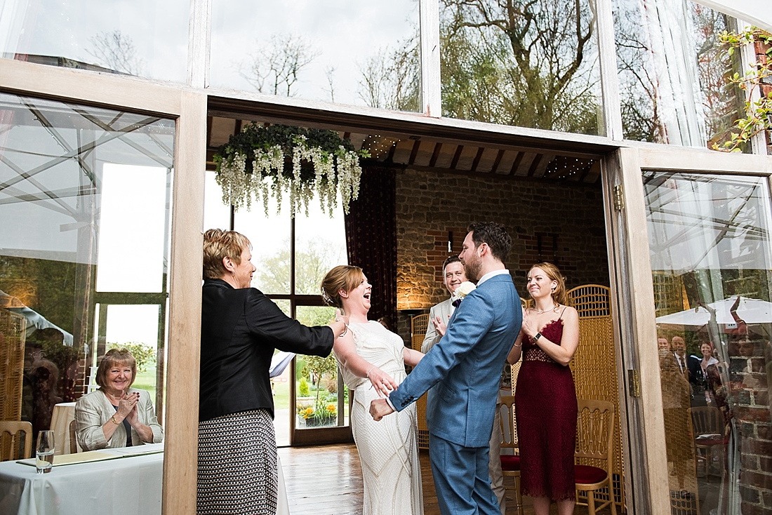 Bride with groom congratulate being married