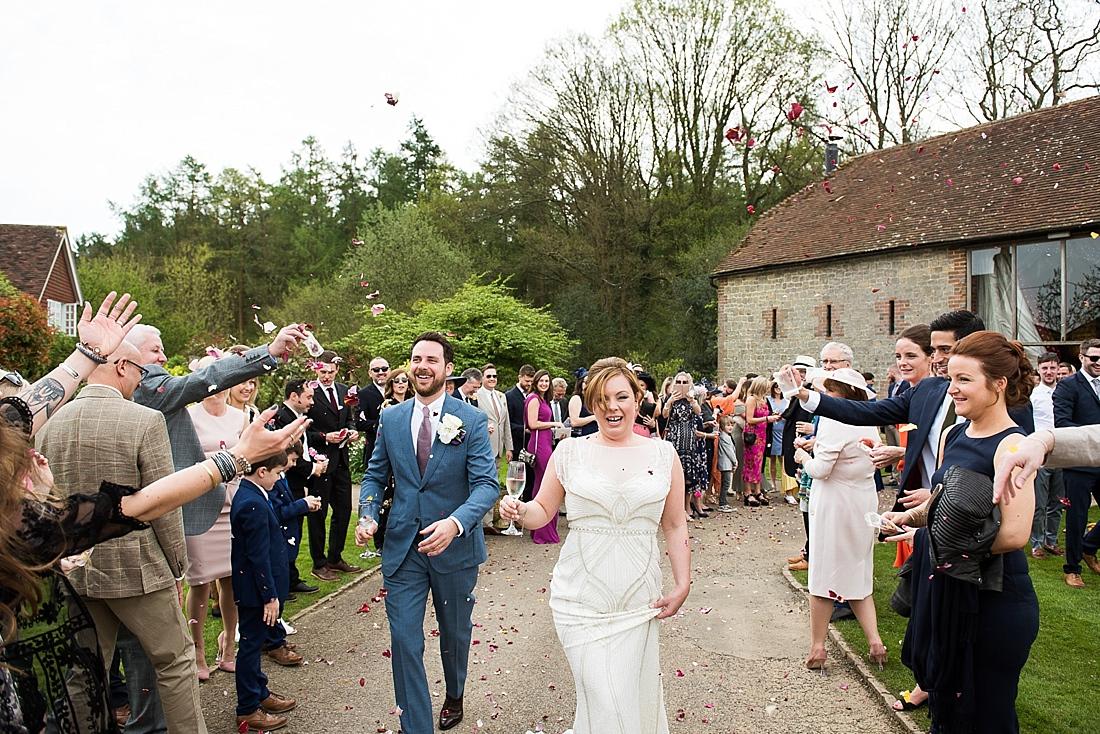 Happy confetti wedding portrait