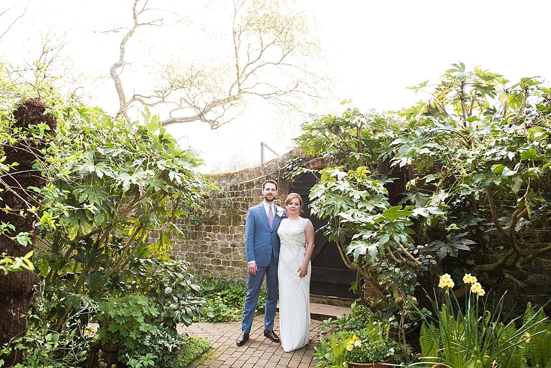 Bartholomew Barn garden wedding portrait with sunshine