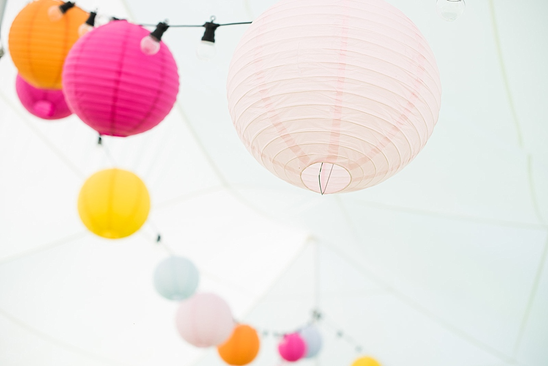 Colourful light decorations wedding planned by Ellie Bowers