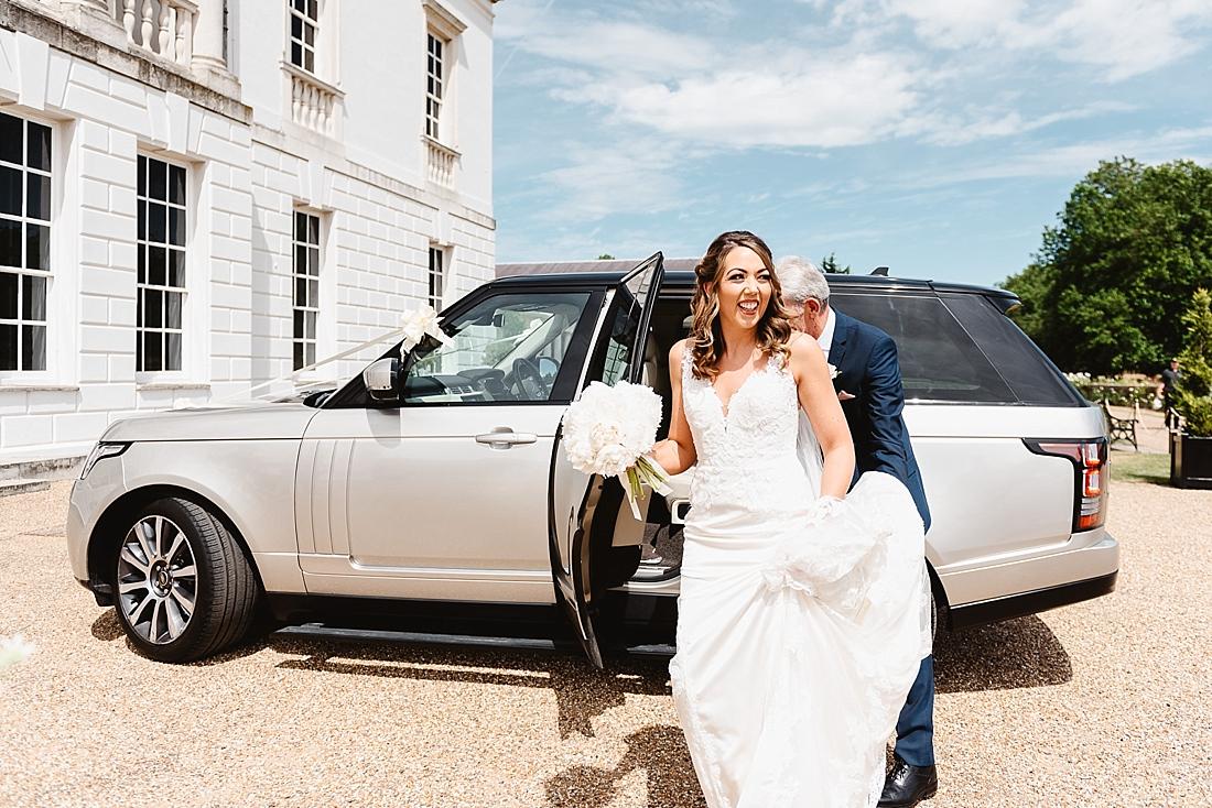 silver 4x4 wedding car