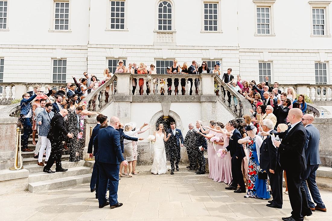 Confetti shot Greenwich wedding