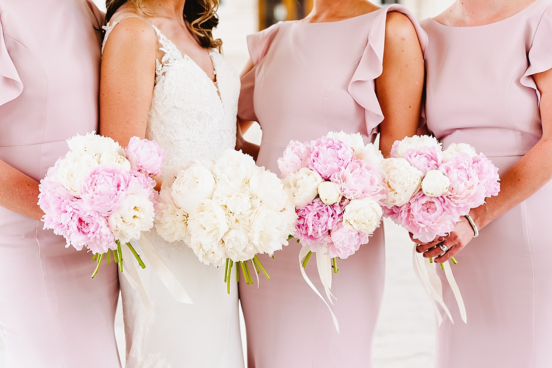 pink and white peony bouquets London wedding
