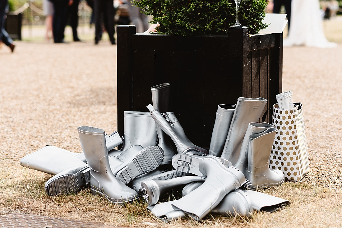 Silver wellies London wedding