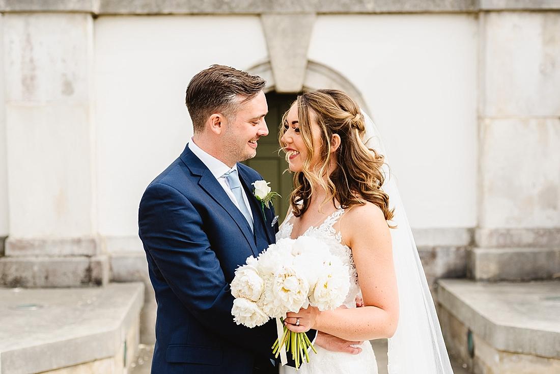White peonies bouquet wedding portrait