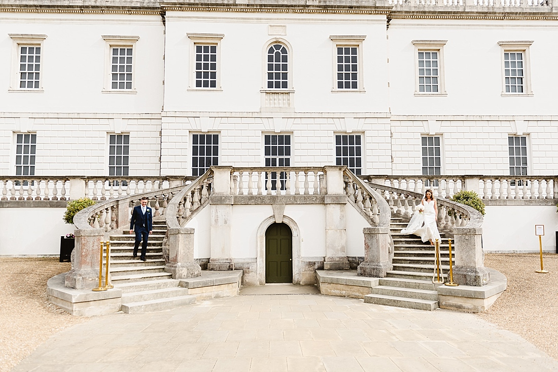 Double Staircase wedding portrait Greenwich
