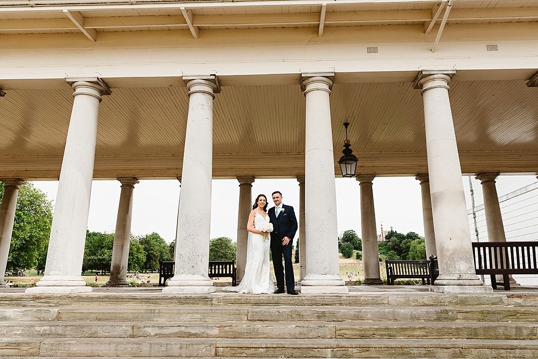 Queens House Greenwich Park wedding portrait