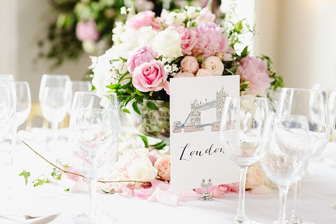 pink and white London wedding theme
