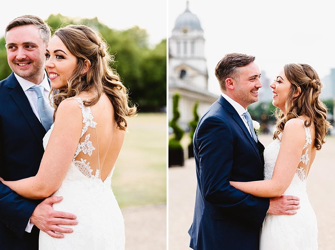 Greenwich London wedding couple