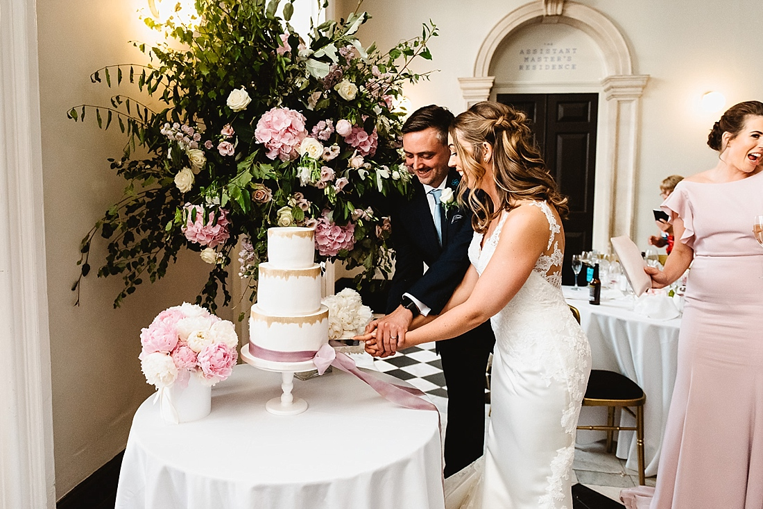 Pink and white wedding cake Claire Lawrence Cake Design